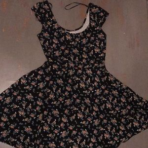 Dainty floral black dress.